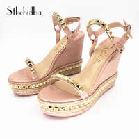 Stkehidba Summer Women's Sandals High Heels Shoes Rivets Women's Shoes Real Leather Ankle Strap Straw Platform Wedges For Woman