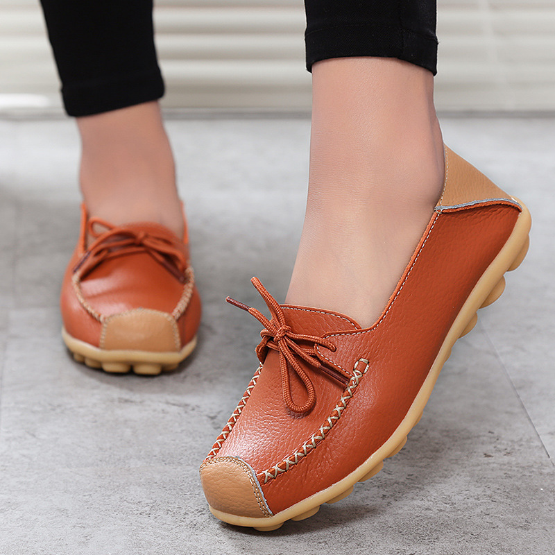 Mocassins Chaussures Sneakers blue Véritable En red Ballerines Mode Black Femmes Cuir Feminino 2018 white Femme Tenis Casual orange dt6qnP4w