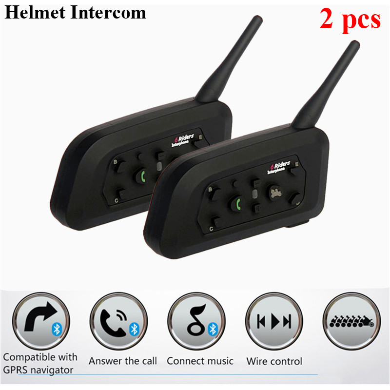 2pcs Wireless Helmet Headset Motorcycle Helmet Intercoms 1200m Bluetooth Interphone Headsets For 6 Riders Waterproof V6 Intercom