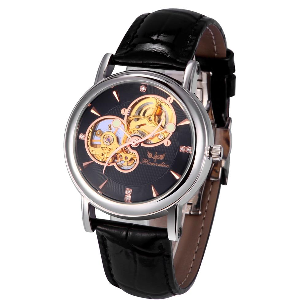 где купить Paradise 2017 Hot 1PC Men Fashion PU Leather Band Skeleton Mechanical Wrist Watch water resistance wholesale  July22 по лучшей цене