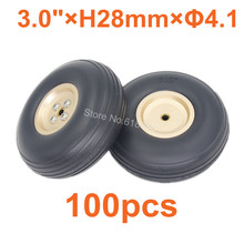 100pcs lot 3 0 76mm Quality RC Airplane Tail Rubber Wheels Alloy Hub Thickness 28mm Axle