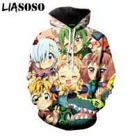 LIASOSO verano nueva moda hombres mujeres sudadera 3D estampado Anime los siete leadly Sins Hoodie Unisex manga larga pulóver A095-10
