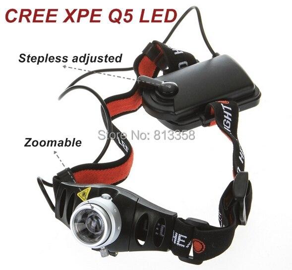 AloneFire HP71 Ultra lumineux réglable en continu 500LM CREE Q5 LED phare de phare Zoomable pour le Camping randonnée cyclisme escalade