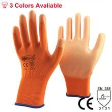 Нм Предметы безопасности Лидер продаж оранжевый полиэстер хлопок вязать с покрытием pu резиновых ладони промышленные Предметы безопасности Дешевая Рабочая Прихватки для мангала