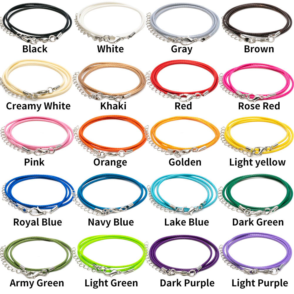 100 Pcs 18 Inches 1 5mm Waxed Necklace Cord Handmade Bracelet Pendant Rope DIY Jewelry Making Accessories with Lobster Clasps in Jewelry Findings Components from Jewelry Accessories