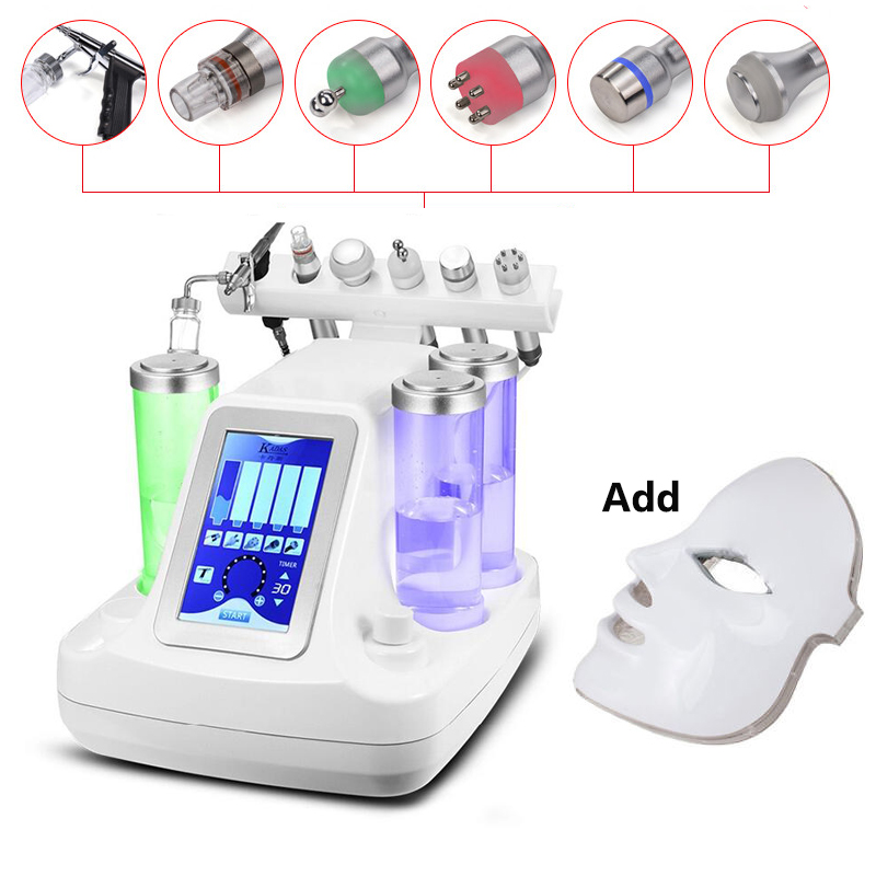 7 têtes petit aspirateur à bulles Instrument de nettoyage du visage eau Hydro oxygène pores nettoyant Machine de Massage du visage soins de la peau BIO RF aussi