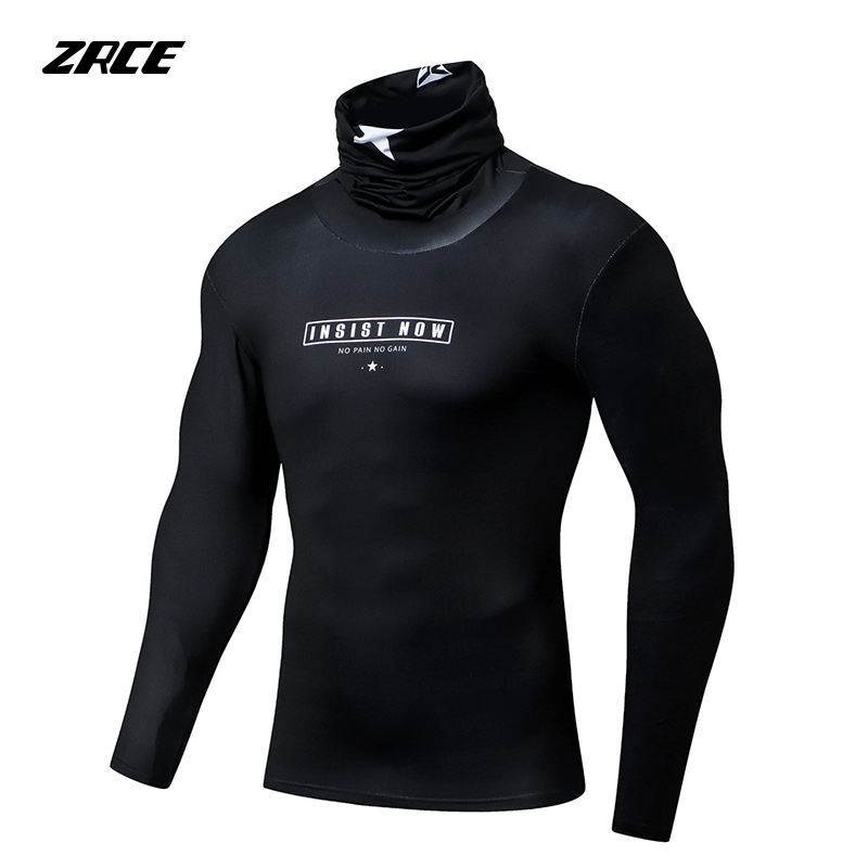 ZRCE Anti-fading Breathable High-elastic Quick-drying Male Pullover Compression Tops Fitness Cycling Shirt Long-sleeved T-shirt