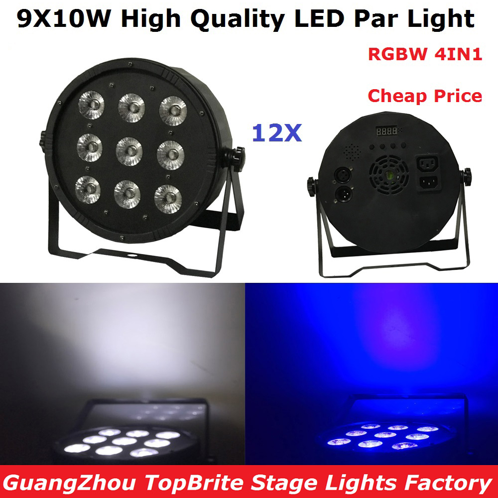 12Pcs/Lot Cheap Price 9X10W RGBW 4IN1 LED Flat Par Light High Power 120W LED Stage Dj Disco Lighting For Party Wedding Nightclub