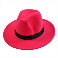 women's fashion jazz hat 2019 summer new Wool Wide Brim Felt Flat Top Hat Jazz Church Godfather Sombrero Caps bowler hat men