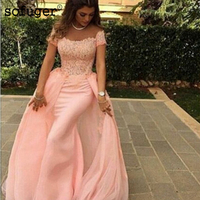 Detachable Muslim Evening Dresses 2019 Mermaid Chiffon Lace Islamic Dubai Kaftan Saudi Arabic Long Evening Gown