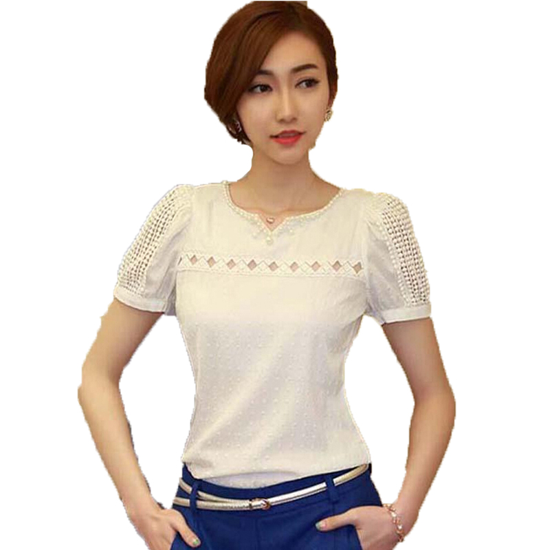 Korean Style Fashion Short Sleeve Chiffon Blouse V Neck Hollow Crochet Lace Tops Female Casual Ladies Office Shirts Blusas  -  men left women right store