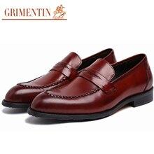 GRIMENTIN brand vintage flats mens casual shoes genuine leather elegant black slip on male shoes men loafers for business weddin