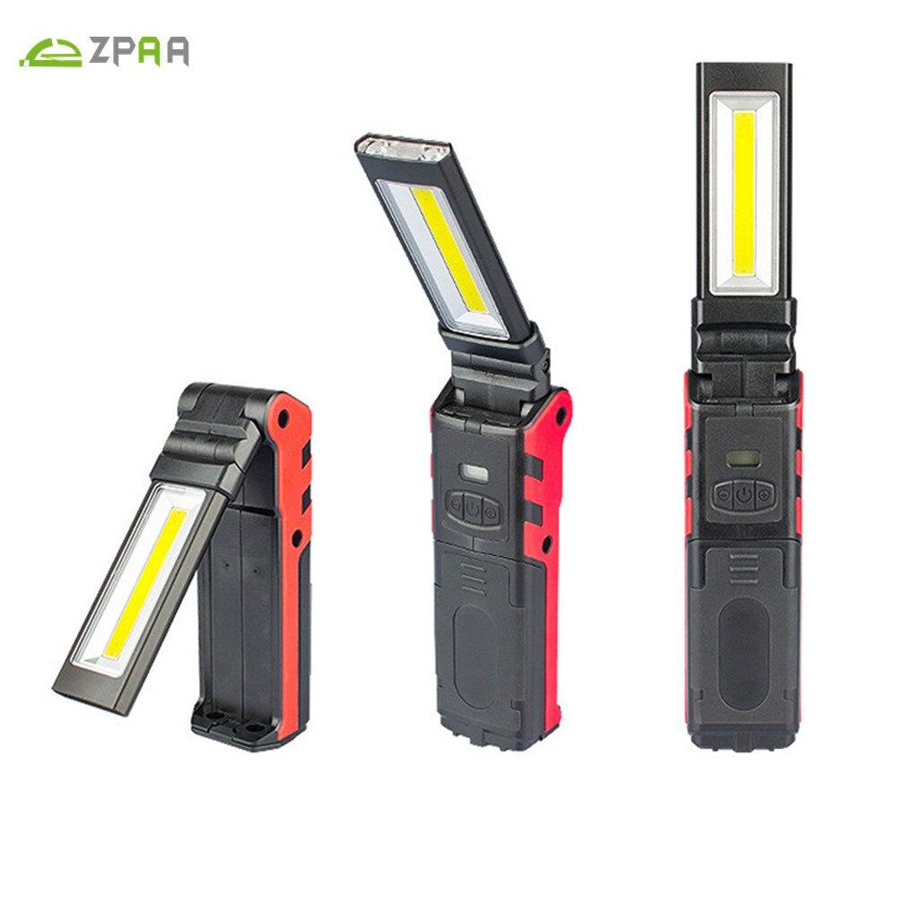 купить ZPAA 1PCS COB Super Bright Adjustable LED Work Light Inspection Lamp Hand Torch Magnetic Camping Tent Lantern With Hook Magnet по цене 1019.28 рублей