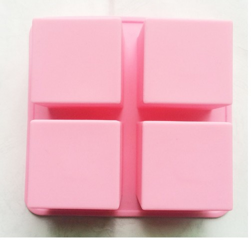 4 Cavity Squares Silicone Loaf Cake Bar Baking Pan Chocolate Jelly Ice Cube Soap Candle Wax