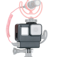 Protective Housing Case Vlogging Frame Cage Mount with Microphone Cold Shoe Adapter for Action Camera Accessories