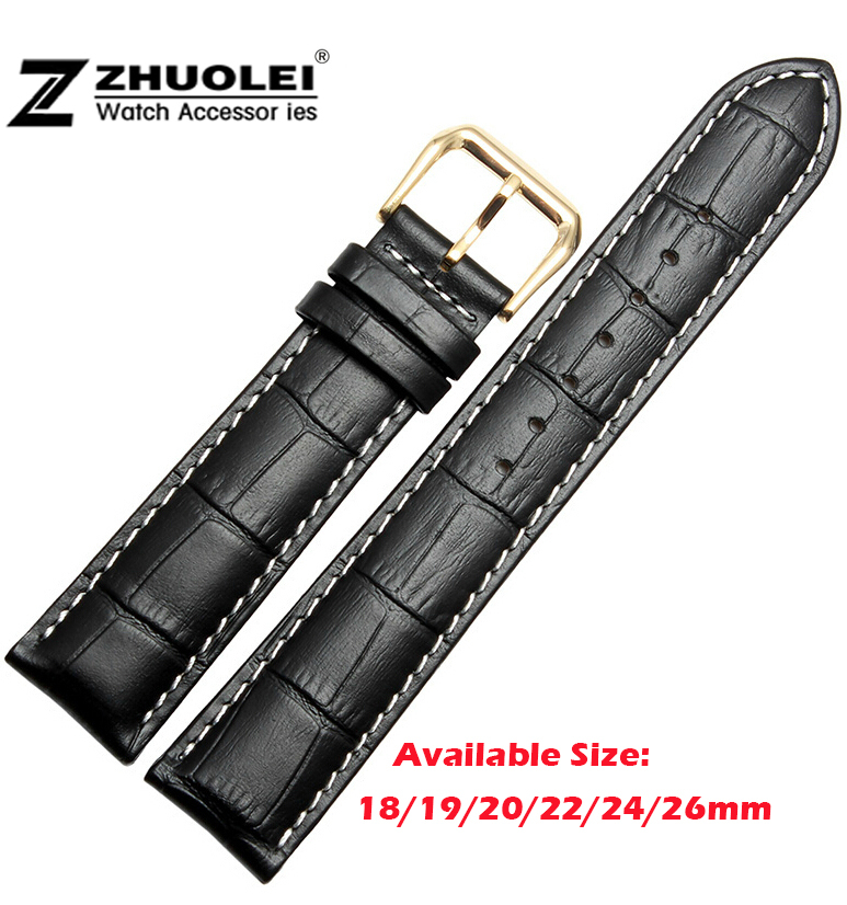 18mm 20mm 22mm High Quality Black Soft Genuine Leather With White Stitching Watchband Strap Bracelets Free Shipping все цены