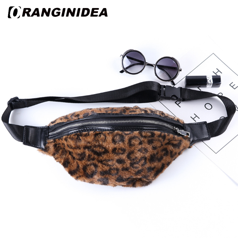 2018 Faux Fur Vrouwen Taille Tas Lady Leopard Borst Zak Vrouwen Verstelbare Borst Zak Vrouwelijke Mode Banaan Riem Tas Belly Tailleband