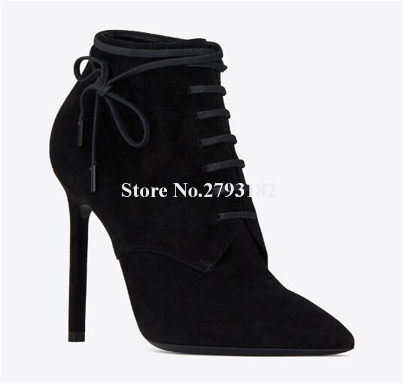 Women New Fashion Pointed Toe Black Suede Thin Heel Short Boots Lace-up High Heel Ankle Booties Classical Style Boots motorbike racing suit children combinaison course automobile kids chaqueta moto mujer baby car karting suit motorcycle suit car