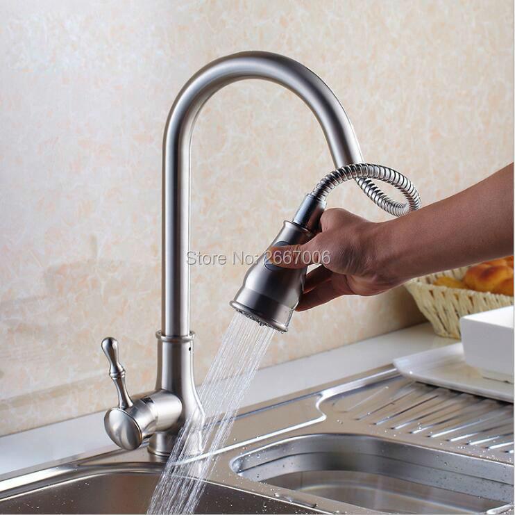 Livraison gratuite offre spéciale bec pivotant tirer robinet de cuisine robinet chaud et froid brossé nickel cuivre cuisine évier mélangeur ZR664
