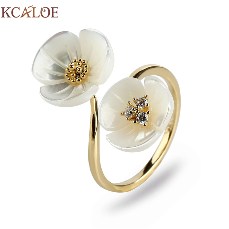 Aliexpress Com Buy Kcaloe Natural Shell Flower Ring Gold