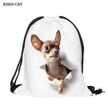 Cute Cartoon Dog Printing Drawstring Pocket LadiesTraining Canvas Small Backpack Women Shopping Draw Mochila Knapsack