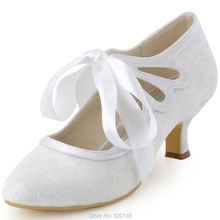 Woman Lace Wedding White Ivory Close Toe Mary Jane Lace-Up Mid Heel Bridesmaid Shoes Bridal Prom Evening Bride Pumps HC1521
