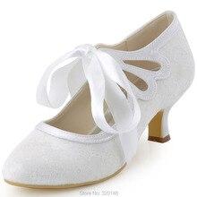 Frau Spitze Hochzeit Weiß Elfenbein Nahe Zehe Mary Jane Lace-Up Mittlere Ferse Brautjungfer Schuhe Braut Prom Abendkleid Braut pumpen HC1521