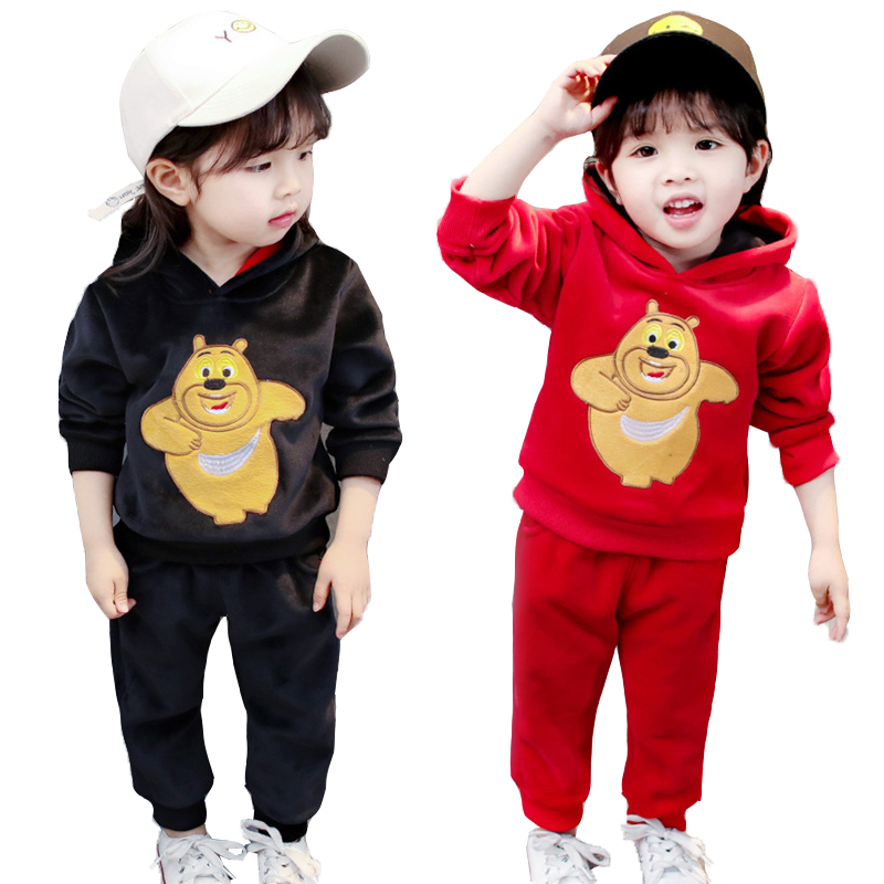 2018 Autumn Tracksuit Baby Girl Thick Hooded+Pants 2pcs Sets Kids Clothes Sports Suits For Girls Children Clothing 2 4 5 Years
