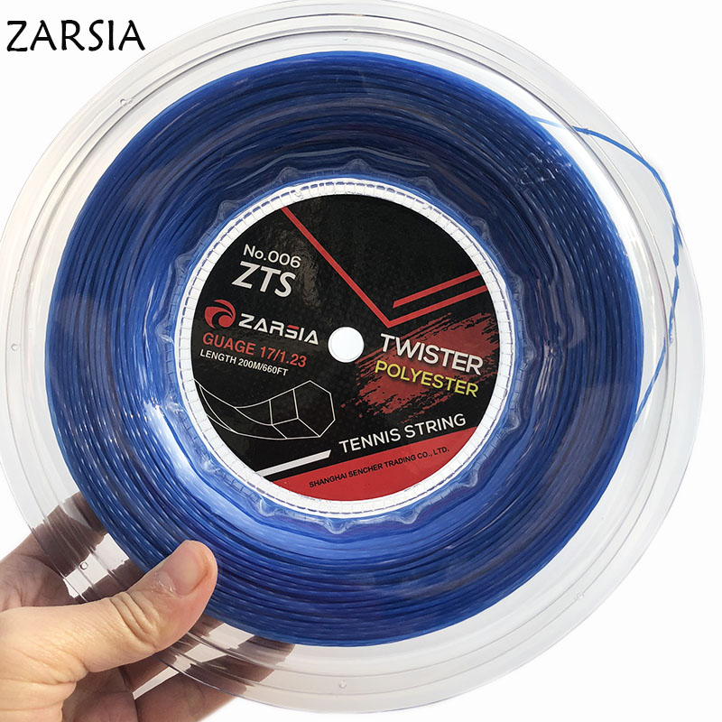 1 Reel  Blue Genuine NEW ZARSIA Black Twist Tennis String Reel Tennis String,made In Taiwan,Hexaspin Twister Polyester Strings