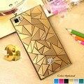 Высококачественный Жесткий Задняя Крышка для xiaomi 3 3D Ромб Шаблон оригинальный Чехол для Xiaomi Mi3 Металл Мобильный Телефон Оболочки Золото Серебро