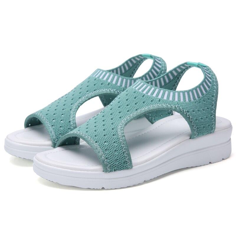 HTB1AEScO9zqK1RjSZFLq6An2XXaj Plus size 35-44 Women Sandals Female Shoes Woman Summer Wedge Comfortable Sandals Ladies Slip-on Flat Sandals Women Sandalias