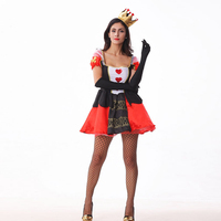 VASHEJIANG Adult Womens Poker Red Queen Of Hearts Costume 3pcs Sexy Queen Of Hearts Costume For