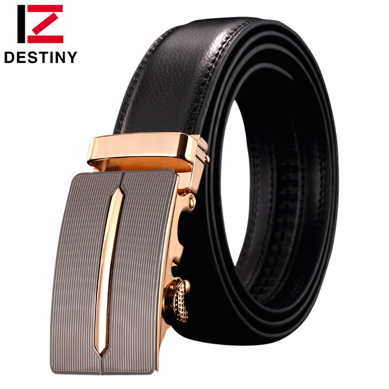 DESTINY brand genuine leather belt men automatic buckle gold famous designers luxury high quality strap male brown simple cowboy
