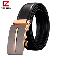 DESTINY Brand Genuine Leather Belt Men Automatic Buckle Gold Famous Designers Luxury High Quality Strap Male