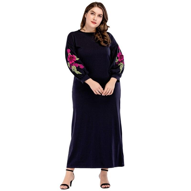 2018 Fashion New Women Appliques Maxi Long Dress Autumn Plus Size Casual Dresses Dubi Muslim Clothing Navy blue M - 3XL 4XL