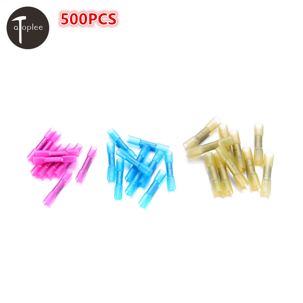 500PCS 22-16AWG/16-14AWG/12-10AWG Heat Shrink Butt Wire Insulated Electric Crimp Terminal Connector Shrink-wrapped 500 pcs blue heat shrink 16 14 ga butt wire connectors ring terminal free shiping