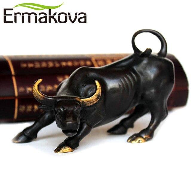 wall street office decor. ermakova brass ox wall street bull figurine charging stock market statue feng shui sculpture home office decor c
