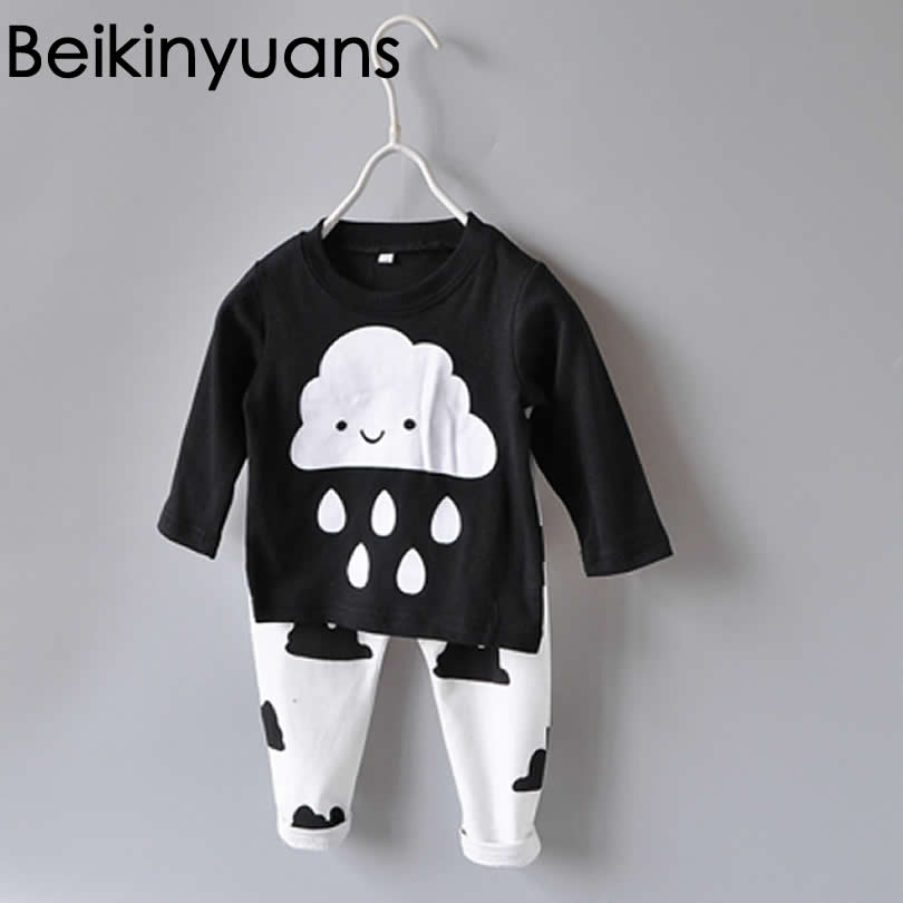 youqi thin summer baby clothing set cotton t shirt pants vest suit baby boys girls clothes 3 6 to 24 months cute brand costumes Newborn Baby Boys Clothing Long Sleeves Cotton Suit Cute Clouds Rain Print 2 pcs/set T-shirt+Pants Casual Clothes Infant