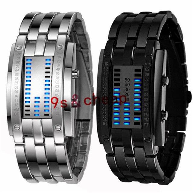 Multi function Men's Watch Luxury Stainless Steel Band LED Digital Watch Date Ho