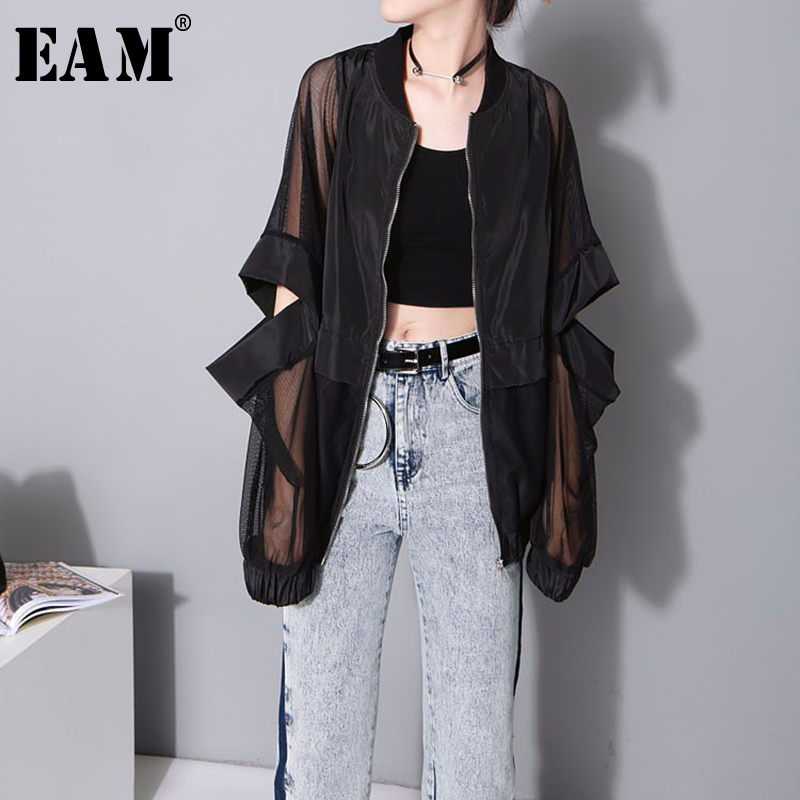[EAM] 2020 New Spring Autumn Stand Collar Long Sleeve Black Thin Hollow Loose Big Size Perspective Jacket Women Coat Fashion JF7