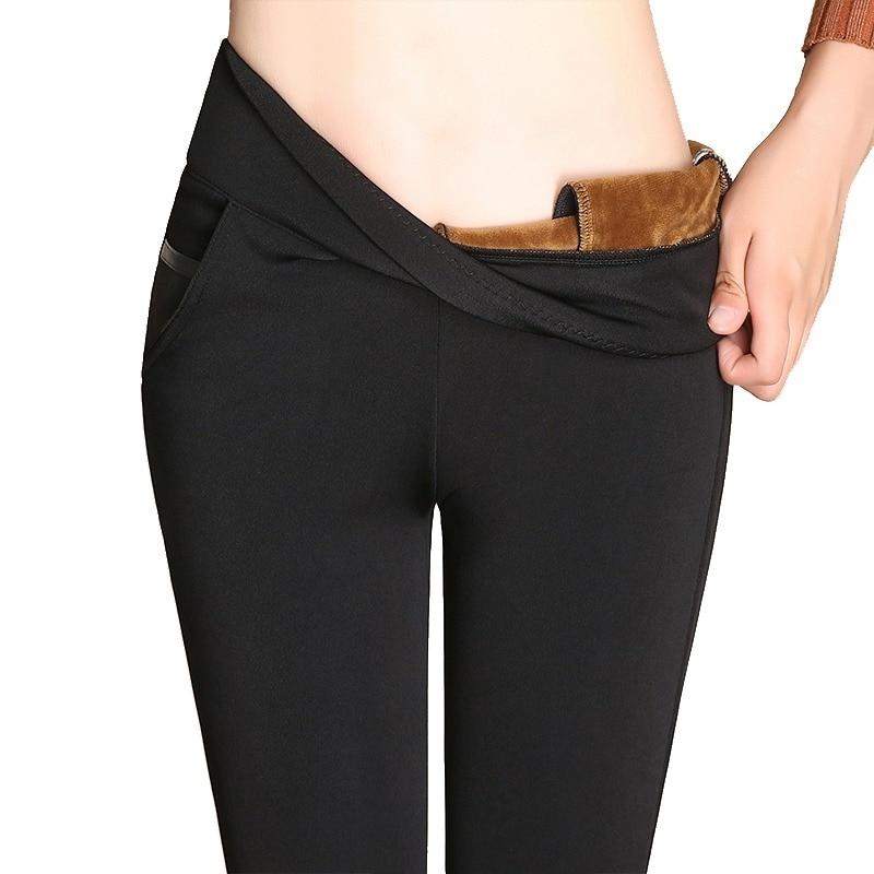Pantalons chauds Femmes 2018 Hiver Velours Épaissir Pantalon Taille Haute  Stretch OL Dames Travail Crayon Pantalons ddaaa14275e7
