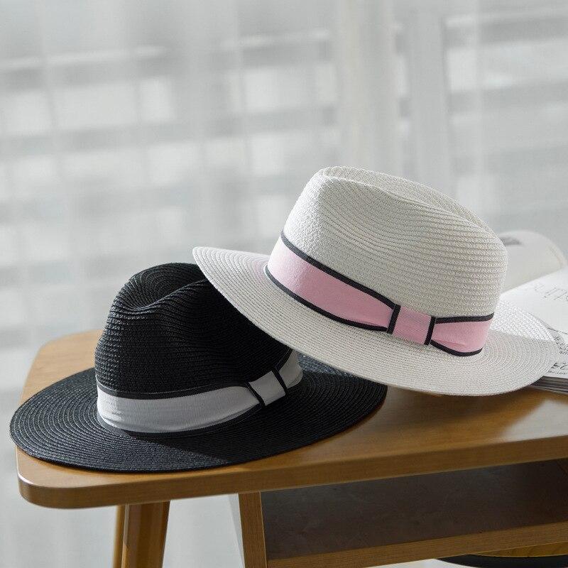 Branded straw hat woman with pan black hat black white woman beach casual wide summer summer Hawaiian fashion Unisex sun hat