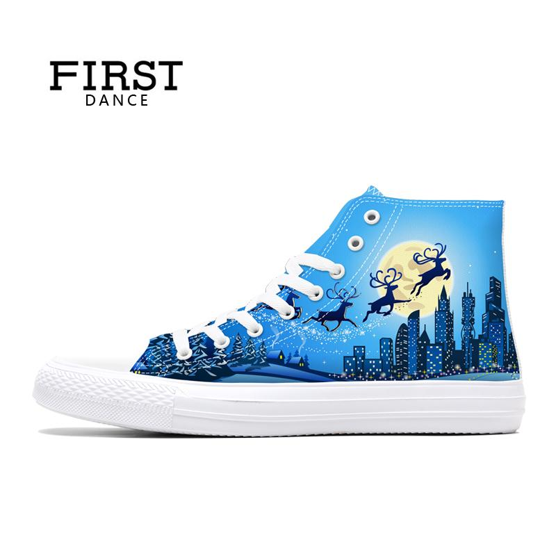 First Dance Men Classic Canvas Christmas Shoes Casual Mens Spring Sneakers High Top Shoes Man Breathable Casual Brand Shoes Man gran epos 2017 new mens casual shoes man flats breathable fashion low high top shoes men hip hop dance shoes for male zapato