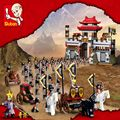 Kits de edificio modelo compatible con lego ciudad castillo 3d bloques educativos tres reinos hobbies juguetes para los niños