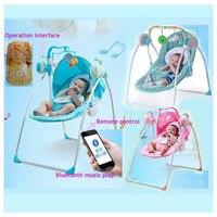 RC Bluetooth новорожденных детские качели кровать Электрический рокер стул младенческой детские кресла качалки кроватки хвастун детские качели