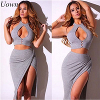 Women Sexy 2 Pieces Skirt Sets Backless Party Halter Crop Top Side Split Skirts Ladies Outfits