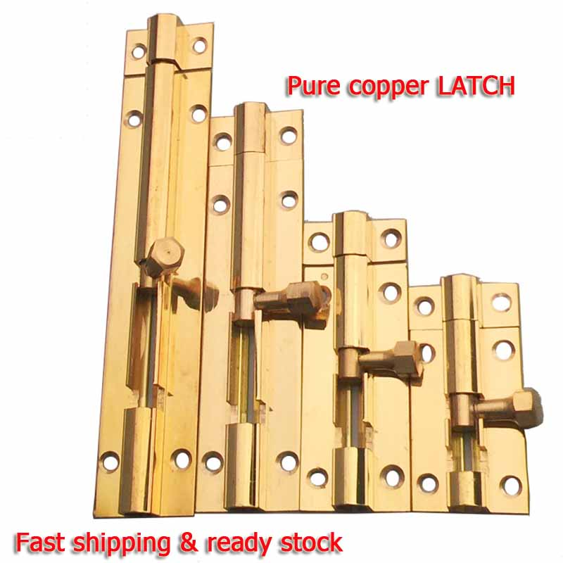 2pcs Furniture Door Bolts 1 5 2 3 4 Inch Pure copper Locks Sliding Door Chain Latch For Gate Security Hardware in Door Bolts from Home Improvement