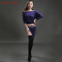 2018 New Performance Belly Dance Odell Top Short Skirt Sexy Dancer Practice Costume 12 Colors Free