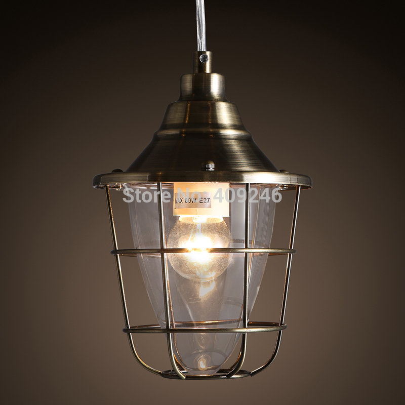 Vintage Retro Iron Loft Industrial Cages(Silver/Bronze) Edison Droplight Ceiling Lamp Cafe Bar Club Coffee Shop Hall Aisle loft retro edison vintage industrial multicolor glass restaurants cafes single contracted bar counter droplight ceiling lamp