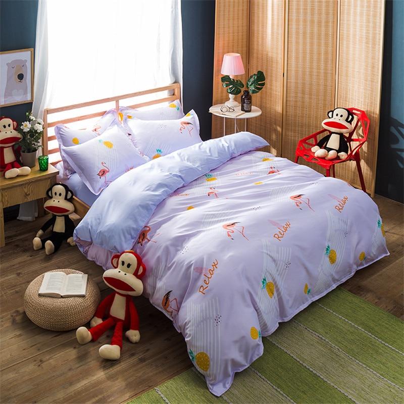Comfortable And Warm Cartoon Image Purple FirebirdS Print Pattern Bedding Comfort Queen/ King 4pcs Set Quilt Bedding Pillowcase
